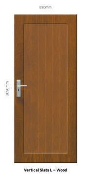Service Door PVC Solid Wood Laminated Vertical Slats Left Hand Opening-w890xh2090mm