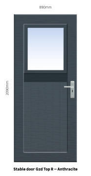 Service Door PVC with Frame (prehung) Glazed Top & Solid Bottom Stable Anthracite Right Hand Opening-w890xh2090mm
