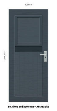 Service Door PVC with Frame (prehung) Solid Top&Bottom Stable Anthracite Right Hand Opening-w890xh2090mm