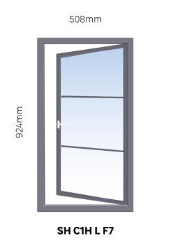 Window Steel Side Hung C1H Left Hand Opening Opening F7 (standard profile)-w508xh924mm