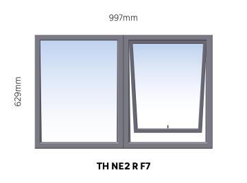 Window Steel Top Hung NE2 Right Hand Opening F7 (standard profile)-w997xh629mm