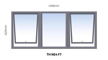 Window Steel Top Hung NE4 F7 (standard profile)-w1486xh629mm