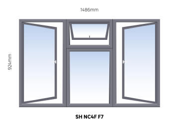 Window Steel Side Hung NC4F F7 (standard profile)-w1486xh924mm