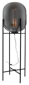 FLOOR LAMP METAL 3 LIGHT SMOKE GLASS