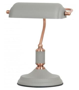 BANKERS DESK LAMP GREY ROSE