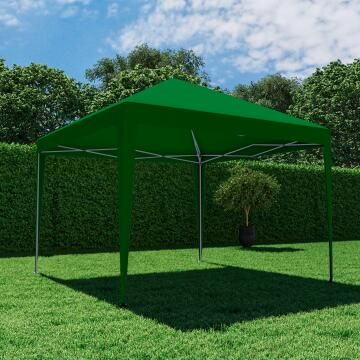 Gazebo Origami Steel Foldable Dark Green 295 cm X 295 cm NATERIAL