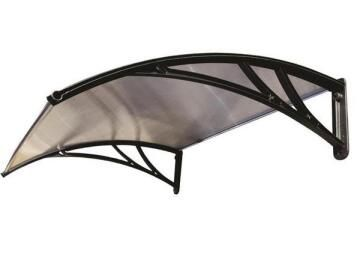Awning Polycarbonate Multiwall Clear-with Black PVC Brackets-w1500xd1000mm