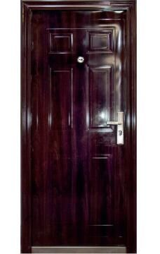 Entry Door High Security Steel with Frame (prehung) 6 Panel Dark Brown Right Hand Opening Open-in-w860xh2050mm