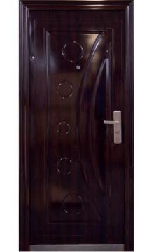Entry Door High Security Steel with Frame (prehung) Half Moon Dark Brown Left Hand Opening Open-in-w860xh2050mm