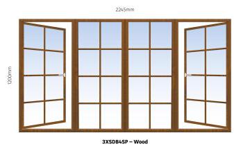 Window Hardwood 3XSDB4SP Cottage Pane-w2245xh1200mm