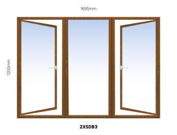 Window Hardwood 2XSDB3 Full Pane-w1695x120mm