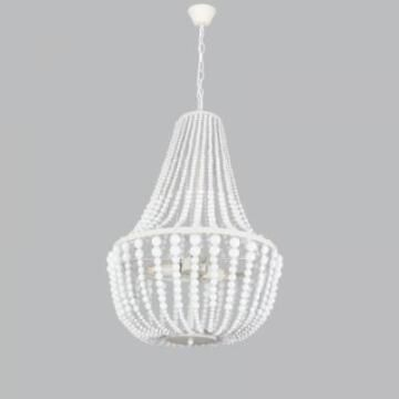 CHANDELIER METAL AND WOOD WHITE 3L