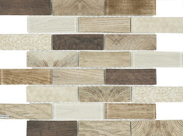 Mosaic Tile Coco Cream Woodgrain Interlocking 350x260mm