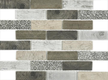 Mosaic Tile Misty Grey Woodgrain Interlocking 350x260mm