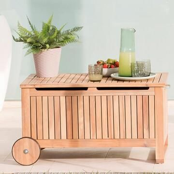 Garden Wooden storage Chest Naterial Solis SIZE:32.4X47X52CM Acacia Wood with 2 WHEELS