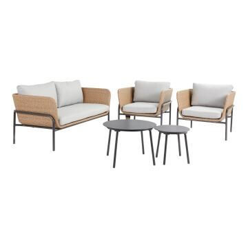 SOFA SET 4 PERSON NATERIAL NABIS SOFA WITH 2 CHAIRS AND TWO TABLES WICKER-ALUMINIUM NATURAL COLOUR