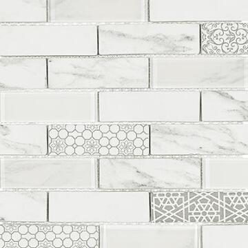 Mosaic Snow Drop White 350x260mm