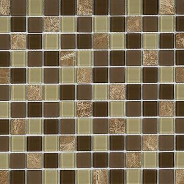 Mosaic Brown Marble/Glass Mix 300X300