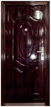 Entry Door High Security Steel with Frame (prehung) 3 Panel Dark Brown Left Hand Opening Open-in-w860xh2050mm