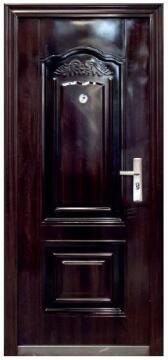 Entry Door High Security Steel with Frame (prehung) 2 Panel Dark Brown Left Hand Opening Open-in-w860xh2050mm