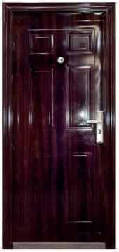 Entry Door High Security Steel with Frame (prehung) 6 Panel Dark Brown Left Hand Opening Open-in-w860xh2050mm
