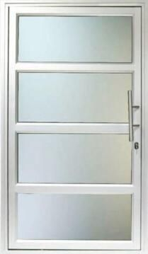 Exterior Door Aluminium with Frame (Prehung) 4 Horizontal Panels Natural Obscure Right Hand Opening Open-in-w1190x2090mm
