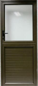 Exterior Door Aluminium with Frame (Prehung) Kick Plate Bronze Obscure Glass Left Hand Opening Open-in-w890x2090mm