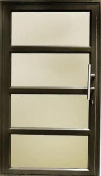 Exterior Door Aluminium with Frame (Prehung) 4 Horizontal Panels Bronze Reflective Glass Left Hand Opening Open-in-w1190xh2090mm