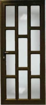 Exterior Door Aluminium with Frame (Prehung) Staggered Bronze Left Hand Opening Open-in-w890xh2090mm