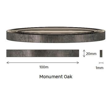 Edging PVC Roll Monument Oak-1mm thick-w20mmxl100m