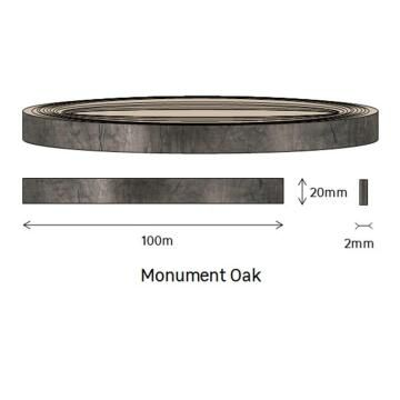Edging PVC Roll Monument Oak-2mm thick-w20mmxl100m