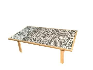 COFFEE TABLE SOHO BLACK AND WHITE 103X70X40CM ACACIA-CERAMIC