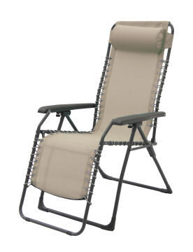 Chair relax elastic foldable steel textilene taupe with pillow