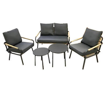 COFFEE SET REVO SOFA 2P 2 AC 2XTABLES STEEL WICKER POLYESTER ANTHRACIT