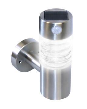 Solar wall mount PIR SOLARMATE SM012 stainless steel 50 lumen