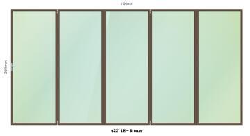 Folding Door Aluminium 5 Panel Bronze-Right Hand Opening-Open out-w3590xh2090mm