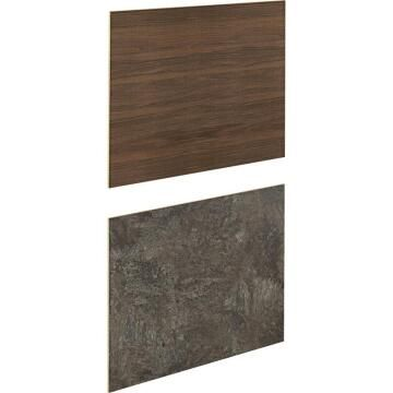 Kitchen splash back laminate Natural Walnut/CharcoalL300mm x H64mm x T8mm