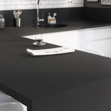 Kitchen worktop Black Matt Matt 3150X650X38 water repellent treatment