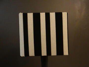 SQUARE 20X17X20 BLACK&BEIGE STRIP