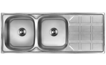 Kitchen sink 2 bowl 1 drainer CAM AFRICA stainless steel 120cm x 48cm