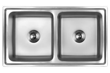Kitchen sink 2 bowls anti-scratch CAM AFRICA stainless steel 870 x 500mm