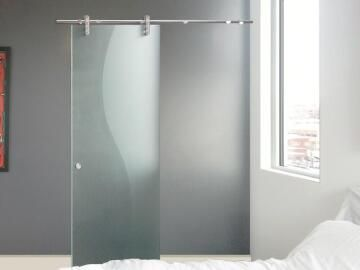 Interior Sliding Door (door only) Toughened Glass Etched 8mm thick-w860xh2050mm