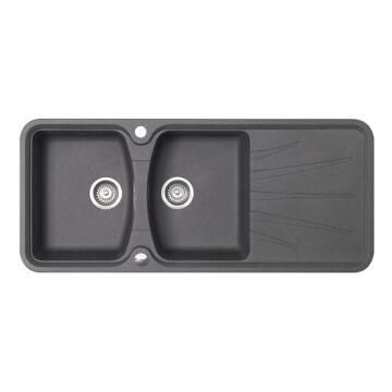 Sink Gr+Resi Korona 2B1D Blck 117X51