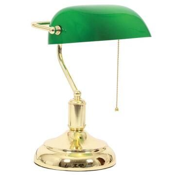 BANKERS TABLE LAMP PULL SWITCH GREEN