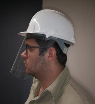 Face shield QUALITOOLS 400 micron for hard hat (not included)