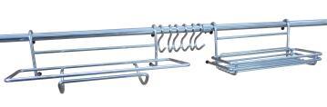 Kit rail for credenza 2 Rail + 6 hooks + 2 accessories L 29.5 cm