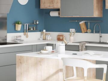 Kitchen worktop laminate Glossy White 315cm x 65cm x 3.8cm water repellent treatment