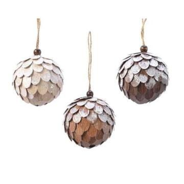 3PC BAUBLE WOODEN SEQUINS