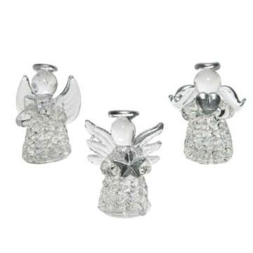 3PC ANGEL GLASS ORNAMENT