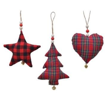 3PC CHECK CHRISTMAS DECORATION